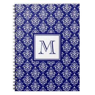 Navy Blue Damask Pattern 1 with Monogram Notebooks