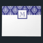 """Navy Blue Damask Pattern 1 with Monogram Notepad<br><div class=""""desc"""">Preppy, Navy Blue and White Vintage Damask Pattern 1 with your monogram, initial, name or text. GraphicsByMimi&#169; A cute, fun, stylish design makes a perfect gift for her. Girly damask with swirls and dots. Use the template field or select """"customize it"""" for more editing options to make your own, unique,...</div>"""
