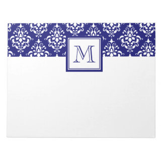 Navy Blue Damask Pattern 1 with Monogram Notepad