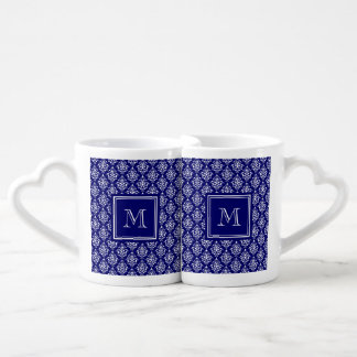 Navy Blue Damask Pattern 1 with Monogram Couples Mug
