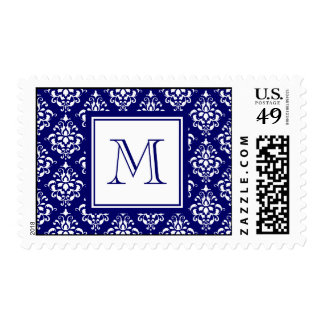 Navy Blue Damask Pattern 1 with Monogram Stamp
