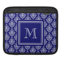 Navy Blue Damask Pattern 1 with Monogram Sleeve For iPads