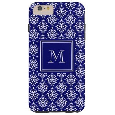 Navy Blue Damask Pattern 1 with Monogram Tough iPhone 6 Plus Case