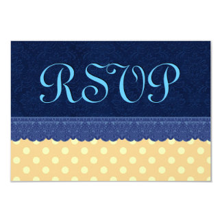 "Navy Blue Damask Peach Polka Dots Wedding 3.5"" X 5"" Invitation Card"