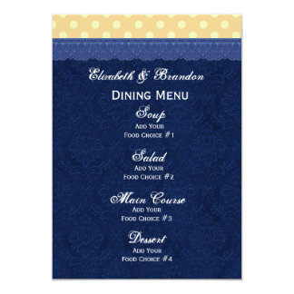 "Navy Blue Damask Peach Polka Dots Wedding 5"" X 7"" Invitation Card"