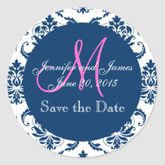 Navy Blue Damask Pink Monogram Save the Date Classic Round Sticker