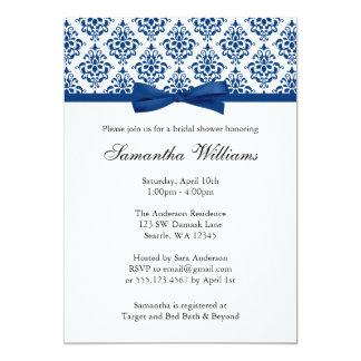 Navy Blue Damask Ribbon Bow Bridal Shower 5x7 Paper Invitation Card