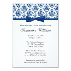 Navy Blue Damask Ribbon Bow Bridal Shower Card at Zazzle