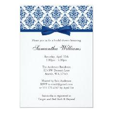Navy Blue Damask Ribbon Bow Bridal Shower Card at Zazzle