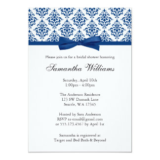 Navy Blue Damask Ribbon Bow Bridal Shower Card