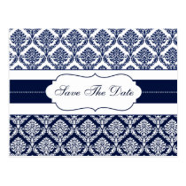 """navy blue"" damask save the date announcement postcard"