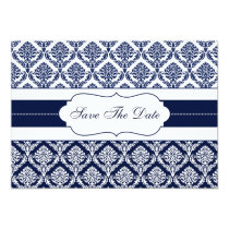 """navy blue"" damask Save the date Card"
