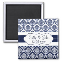 """navy blue"" damask Save the date magnet"