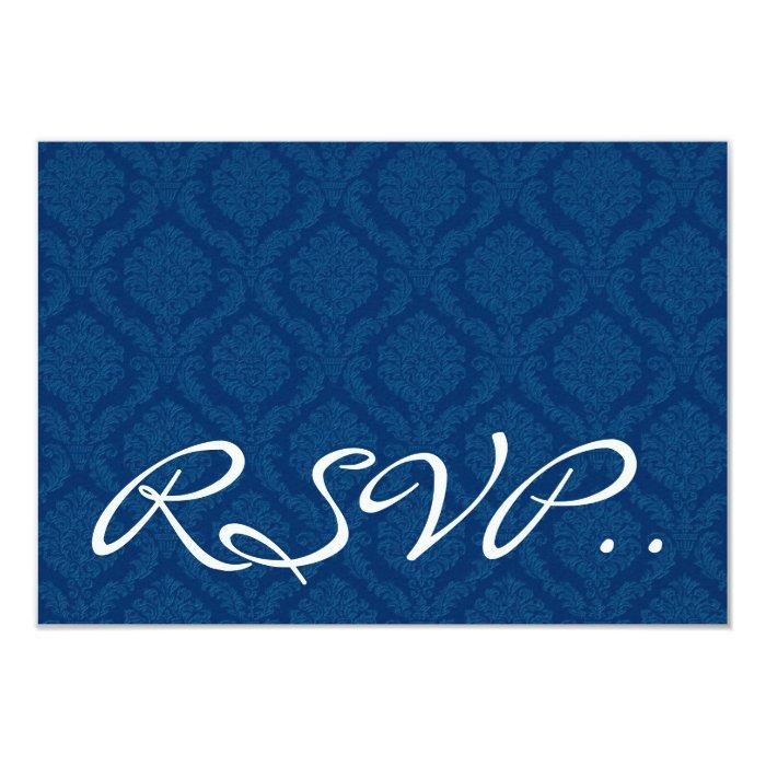 Navy Blue Damask small RSVP Wedding Response Card