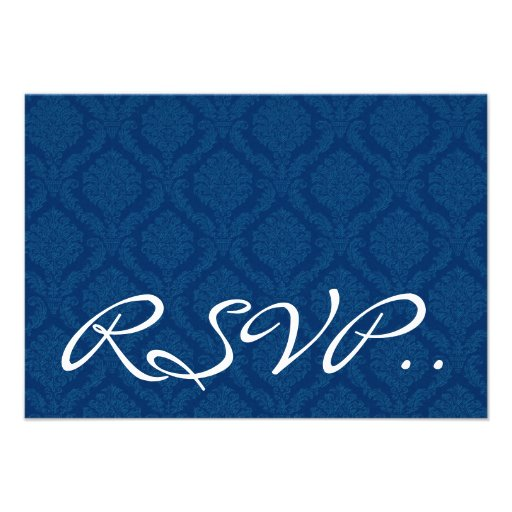 Navy Blue Damask small RSVP Wedding Response Card Custom Announcement