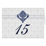 """navy blue"" damask table seating card"