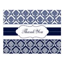 """navy blue"" damask ThankYou Cards"