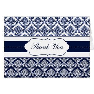 """""""navy blue"""" damask ThankYou Cards"""