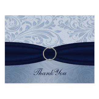 """""""navy blue"""" damask ThankYou Cards Postcard"""