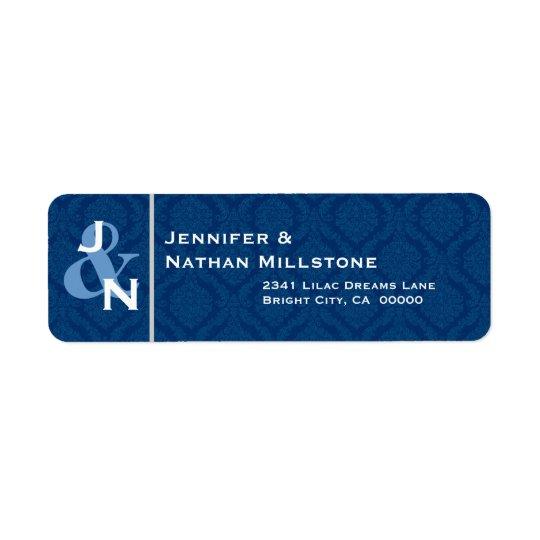 NAVY BLUE Damask Wedding Bride Groom Monogram Label