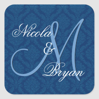 Navy Blue Damask Wedding Bride Groom Monogram V2A Square Sticker