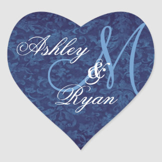Navy Blue Damask Wedding Custom Monogram Heart Heart Sticker