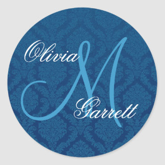 NAVY BLUE Damask Wedding Custom Monogram V1 Classic Round Sticker