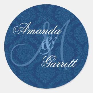 NAVY BLUE Damask Wedding Custom Monogram V2 Classic Round Sticker