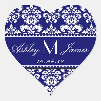 Navy Blue Damask Wedding Favour Sticker