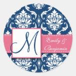 Navy Blue Damask Wedding Favour Sticker Pink