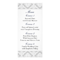 """navy blue"" damask Wedding menu"