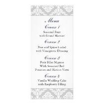 """""""navy blue"""" damask Wedding menu"""