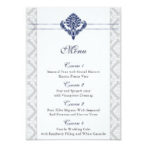 """navy blue"" damask wedding menu card"