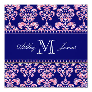 Navy Blue Damask Wedding Printed Pink Glitter Card