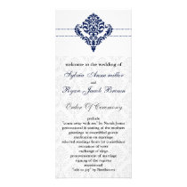 """navy blue"" damask Wedding program"