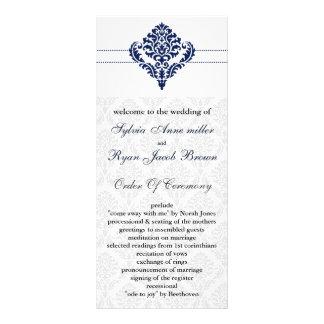 """navy blue"" damask Wedding program"