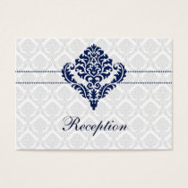 """navy blue"" damask wedding Reception Cards"