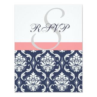 Navy Blue Damask Wedding RSVP Cards Coral