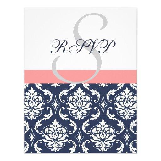 Navy Blue Damask Wedding RSVP Cards Coral Invite
