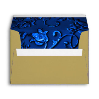 Navy Blue Damask with Any Color Envelope
