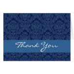 Navy Blue Damask with Lace Thank You H202 Greeting Card