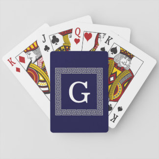 Navy Blue Dark Gray Greek Key #1 Framed Monogram Playing Cards