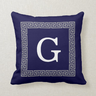 Navy Blue Dark Gray Greek Key #1 Framed Monogram Throw Pillow