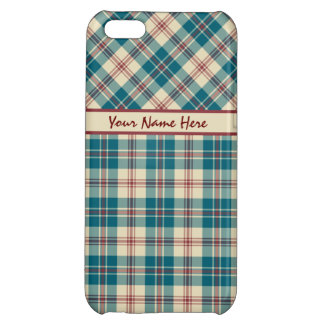 Navy Blue, Deep Red and Beige Plaid iPhone 5C Cover
