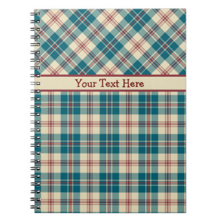 Navy Blue, Deep Red, Beige Plaid Spiral Notebook