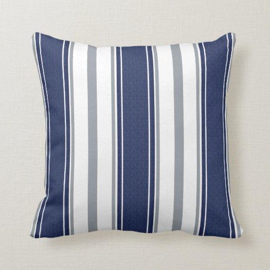 Navy Blue Denim Pale Gray Stripes Pattern | Throw Pillow