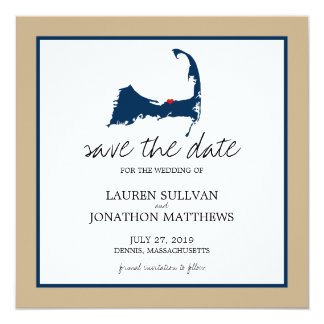 Navy Blue Dennis Cape Cod Wedding Save the Date Card
