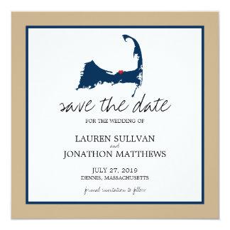 Navy Blue Dennis Cape Cod Wedding Save the Date Card