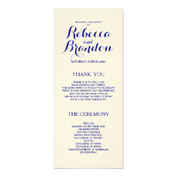 Navy Blue Designer Script Custom Wedding Program