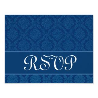 Navy Blue Diamond Damask Wedding RSVP Large Custom Invitation